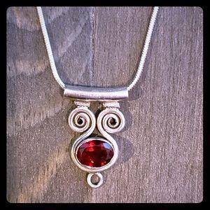 ❣️Garnet & Sterling Silver Necklace